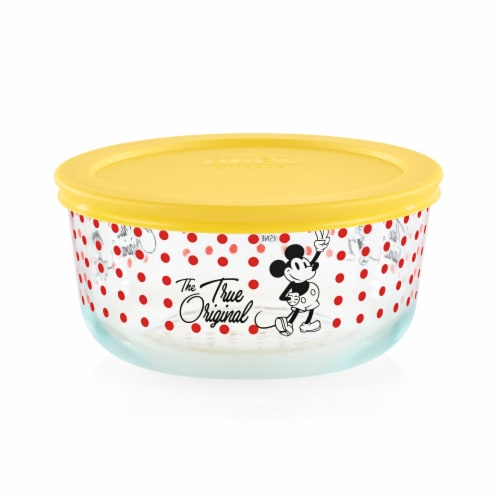 Pyrex Round Mickey The True Original Glass Bowl - Yellow/Red Perspective: front