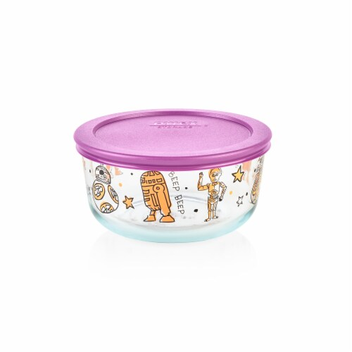 Pyrex Star Wars Droids Food Storage Container with Lid - Clear/Purple Perspective: front