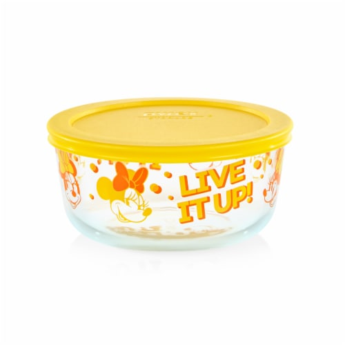 Pyrex Round Minnie Mouse Live It Up! Glass Bowl - Yellow Perspective: front