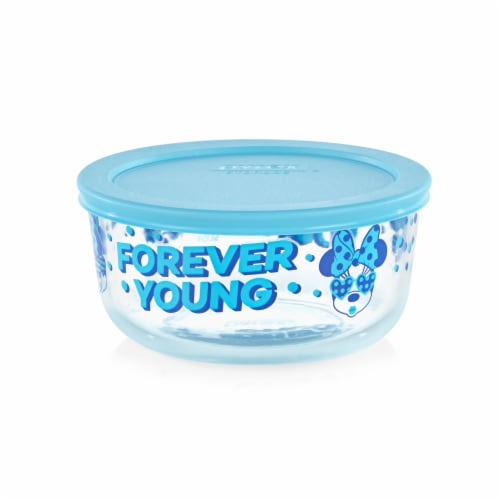 Pyrex Round Minnie Mouse Forever Young Glass Bowl - Blue Perspective: front