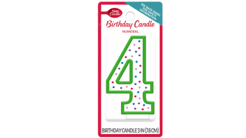 Betty Crocker # 4 Birthday Candle Perspective: front