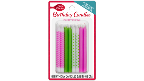 Betty Crocker Pretty In Pink Birthday Candles Perspective: front