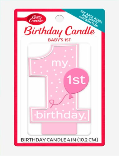 Betty Crocker Baby Girl's First Birthday Candle Perspective: front