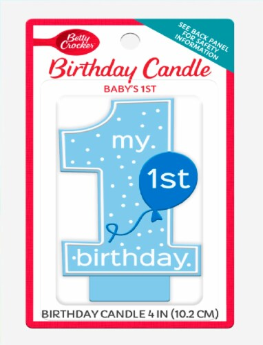 Betty Crocker Baby Boy's First Birthday Candle Perspective: front