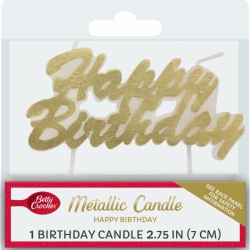 Betty Crocker Metallic Happy Birthday Candle Perspective: front