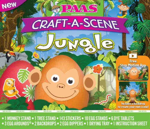 PAAS® Craft-A-Scene Jungle Egg Decorating Kit Perspective: front