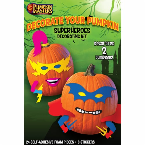 Pumpkin Masters Super Heroes Decorating Kit Perspective: front