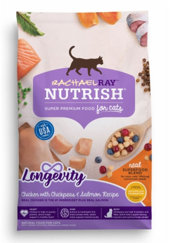 Rachael Ray Nutrish Longevity Chicken with Chickpeas and Salmon Receipe Cat Food Perspective: front