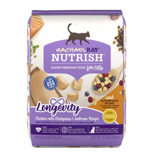 Rachael Ray Nutrish Chicken Chickpea and Salmon Longevity Dry Cat Food Perspective: front