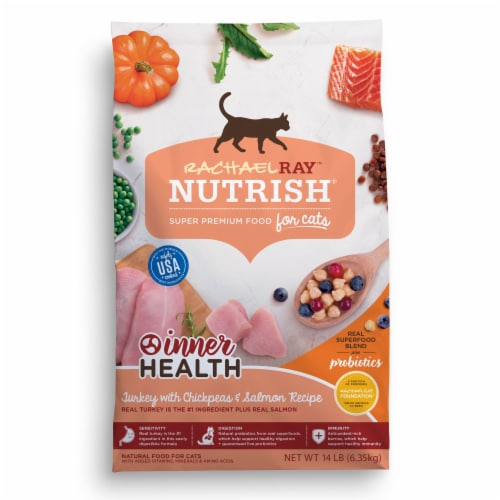 Rachael Ray Nutrish Tukey Chickpea and Salmon Inner Health Dry Cat Food Perspective: front