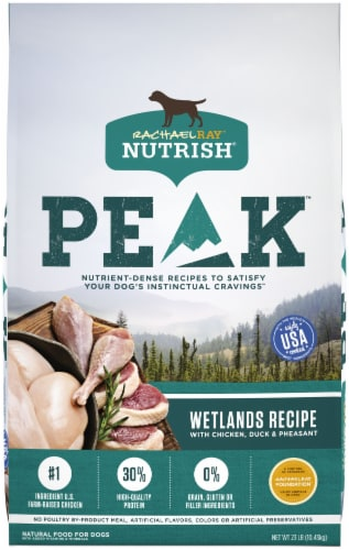 Rachael Ray Nutrish Peak WEtland Chicken and Duck Dry Dog Food Perspective: front