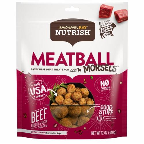 Rachael Ray Nutrish Meatball Morsels Beef Chicken & Bacon Dog Treats Perspective: front