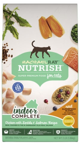 Rachael Ray Nutrish Indoor Complete Chicken With Lentils & Salmon Dry Cat Food Perspective: front
