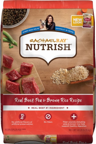 Rachael Ray Nutrish Real Beef Pea & Brown Rice Recipe Dry Dog Food Perspective: front