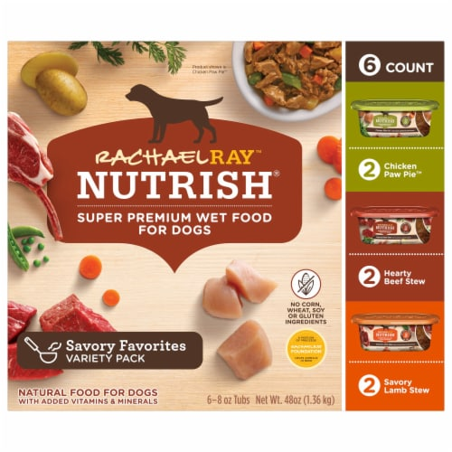 Rachael Ray Nutrish Natural Healthy Recipes Wet Dog Food Variety Pack Perspective: front