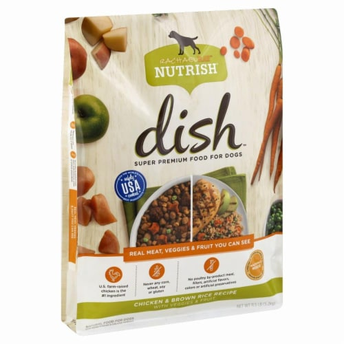 Rachael Ray Nutrish Dish Chicken & Brown Rice with Veggies & Fruit Dry Dog Food Perspective: front