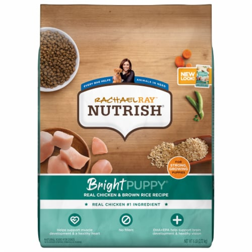 Rachael Ray Nutrish Bright Puppy Real Chicken & Brown Rice Recipe Premium Dry Puppy Food Perspective: front