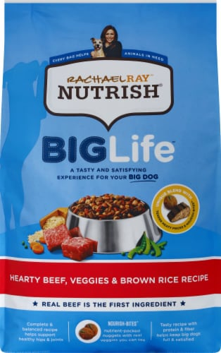 Rachael Ray Nutrish Big Life Hearty Beef Veggie & Brown Rice Dry Adult Dog Food Perspective: front