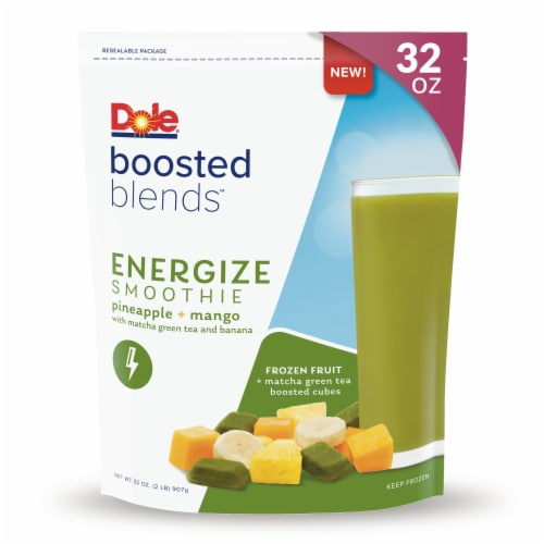 Dole Boosted Blends Energize Pineapple & Mango Smoothie Frozen Fruit Pouch Perspective: front