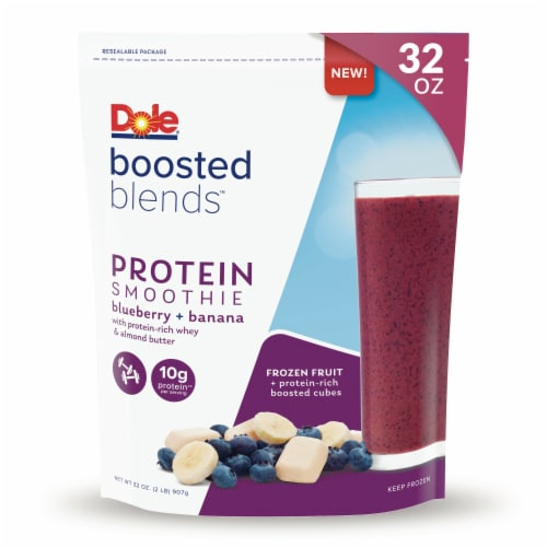 Dole Boosted Blends Protein Blueberry & Banana Smoothie Frozen Fruit Pouch Perspective: front