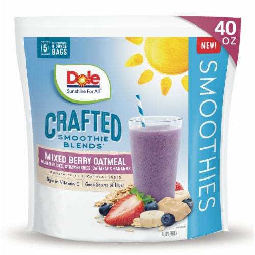Dole® Crafted Smoothie Blends® Mixed Berry Oatmeal Smoothie Mix Perspective: front