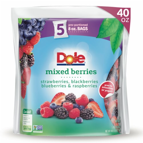 Dole Mixed Berries Pre-Portioned Frozen Fruit Bags Perspective: front