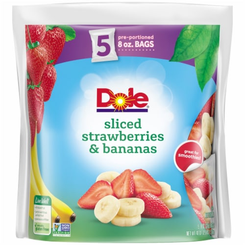 Dole Sliced Strawberries & Bananas Pre-Portioned Frozen Fruit Bags Perspective: front