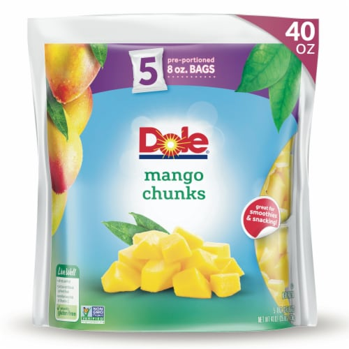 Dole Mango Chunks Pre-Portioned Frozen Fruit Perspective: front
