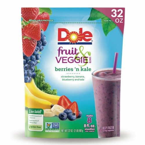 Dole Fruit & Veggie Berries 'n Kale Frozen Blend Perspective: front