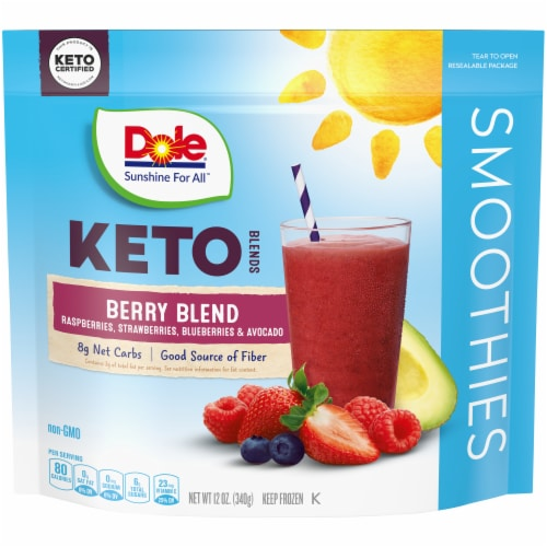 Dole Keto Berry Blend Smoothie Frozen Fruit Pouch Perspective: front
