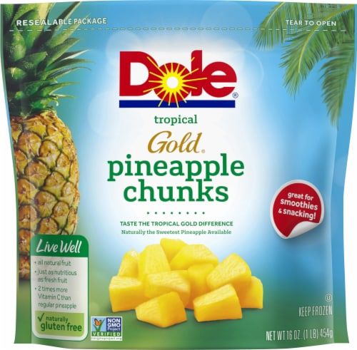 Dole Tropical Gold Frozen Pineapple Chunks Perspective: front