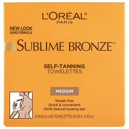 L'Oreal Sublime Bronze Self-Tanning Medium Natural Tan Towelettes 6 Count Perspective: front