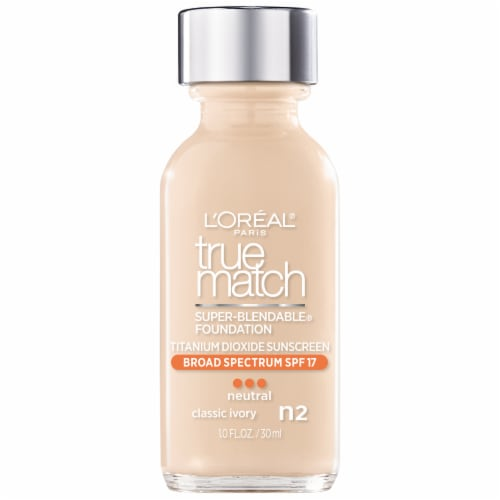 L'Oreal Paris True Match N2 Neutral Classic Ivory Super-Blendable Liquid Foundation SPF 17 Perspective: front