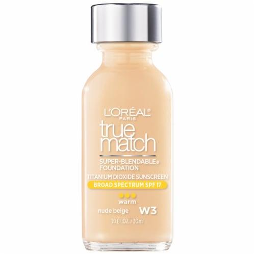 L'Oreal Paris True Match W3 Warm Nude Beige Super-Blendable Liquid Foundation SPF 17 Perspective: front