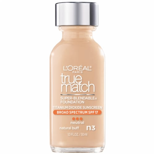 L'Oreal Paris True Match N3 Neutral Natural Buff Super-Blendable Liquid Foundation SPF 17 Perspective: front