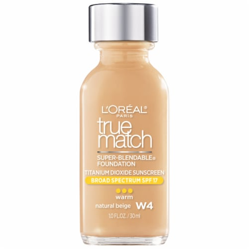 L'Oreal Paris True Match W4 Warm Natural Beige Super-Blendable Liquid Foundation SPF 17 Perspective: front