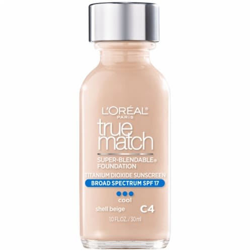 L'Oreal Paris True Match Super Blendable Cool Shell Beige C4 Liquid Foundation Perspective: front