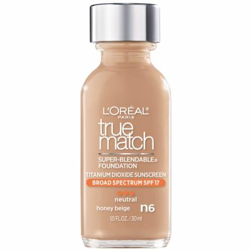 L'Oreal Paris True Match Super Blendable Neutral Honey Beige N6 Liquid Foundation Perspective: front