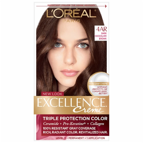 L'Oreal Paris Excellence Creme 4AR Dark Chocolate Brown Hair Color Kit Perspective: front