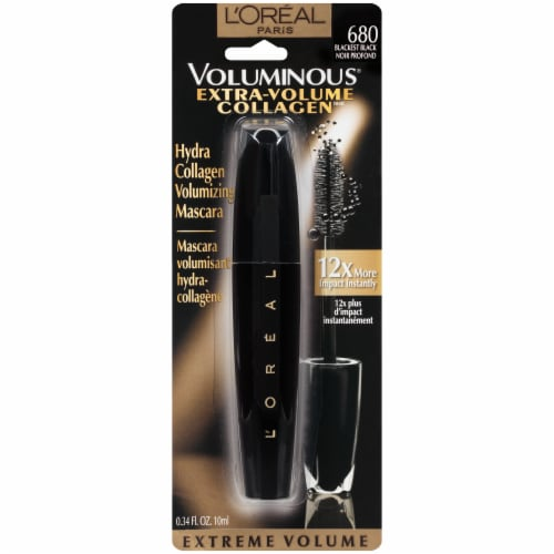 L'Oreal Paris Extra-Volume Collagen 680 Blackest Black Mascara Perspective: front