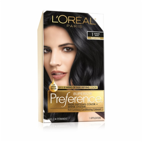 L'Oreal Paris Superior Preference Ultimate Black Permanent Hair Color Kit Perspective: front
