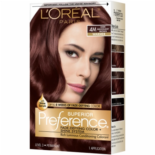 L'Oreal Paris Superior Preference Dark Mahogany Brown 4M Permanent Hair Color Perspective: front