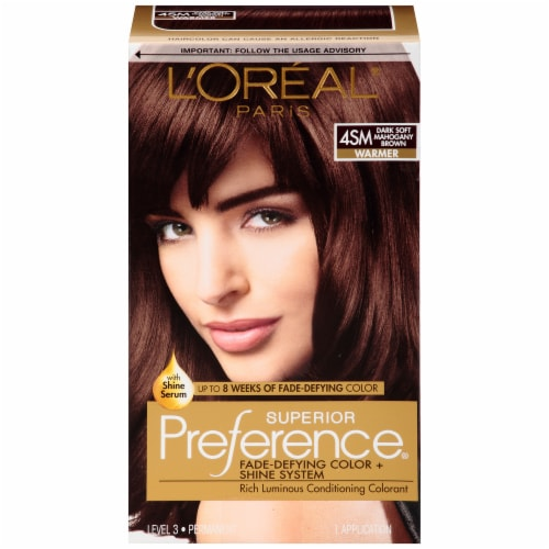 L'Oreal Superior Preference Dark Soft Mahogany Brown Hair Color Perspective: front