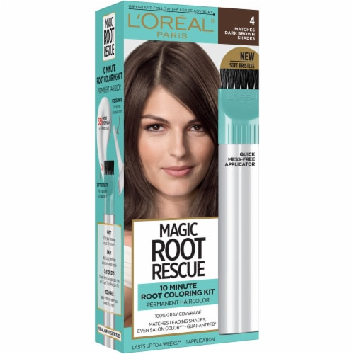 L'Oreal Paris Magic Root Rescue 4 Dark Brown Hair Color Perspective: front