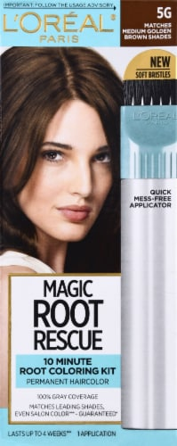 L'Oreal Paris Magic Root Rescue 5G Medium Golden Brown Hair Color Perspective: front