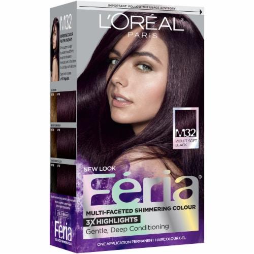 L'Oreal Feria Shimmering Violet Soft Black M32 Hair Color Perspective: front
