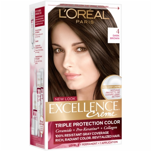 L'Oreal Paris Excellence Creme 4 Dark Brown Hair Color Kit Perspective: front