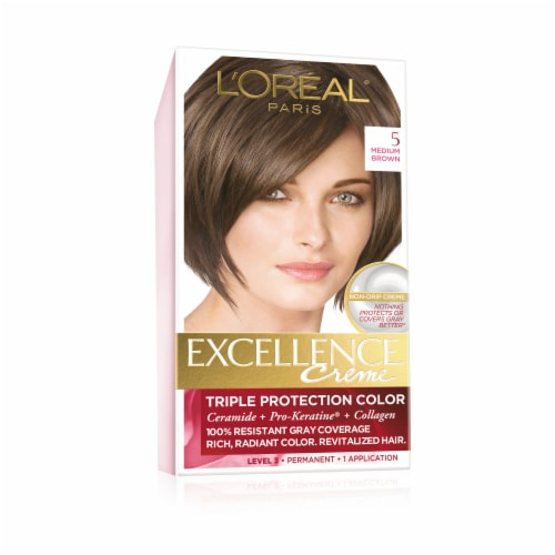 L'Oreal Paris Excellence Creme 5 Medium Brown Hair Color Kit Perspective: front