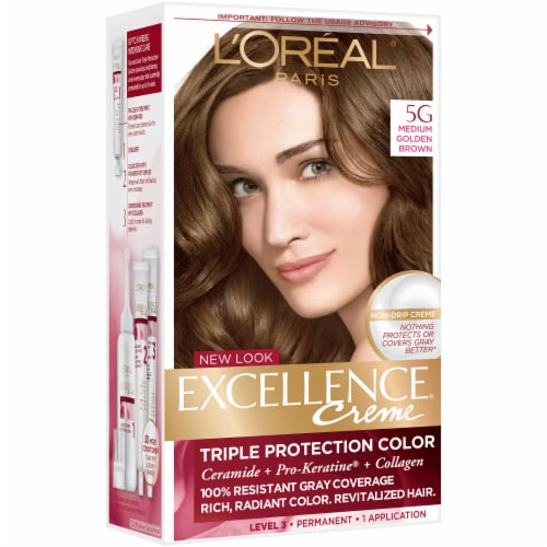 L'Oreal Paris Excellence Creme 5G Medium Golden Brown Hair Color Kit Perspective: front
