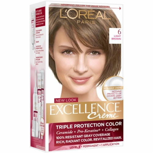 L'Oreal Paris Excellence Creme 6 Light Brown Triple Protection Permanent Hair Color Kit Perspective: front